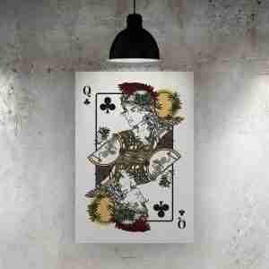 Queen of Clubs Art Print – The Green Man